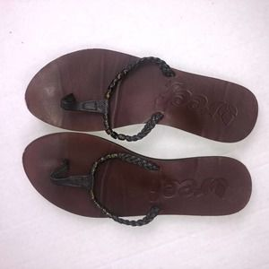 Reef Beaded Brown Leather Flip Flop Sandals Size 6